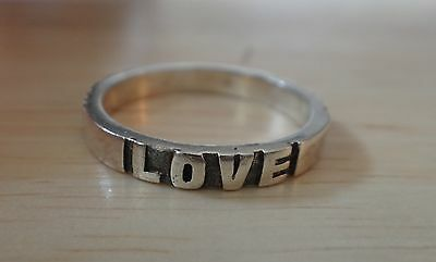 size 7 Sterling Silver 3mm Thin Band says Hope Love Faith 3mm wide Ring