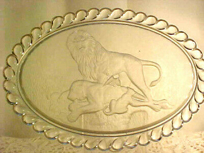 Very RARE 1876 pressed glass oval platter-LION pattern