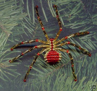 Gold & Red Christmas Beaded Spider Pin