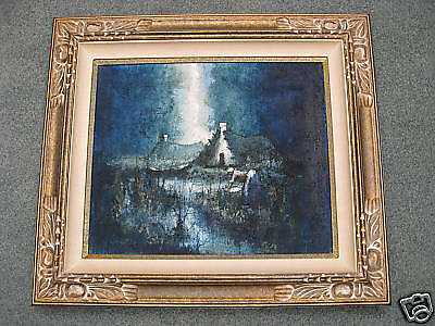 Oil and Sand signed original painting by Loziano 1971 -Local pickup or see rmks