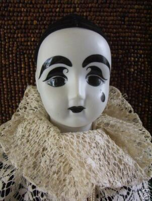 French Clown Doll with tear- Perot -Porcelain---Vintage  Beautiful       #147