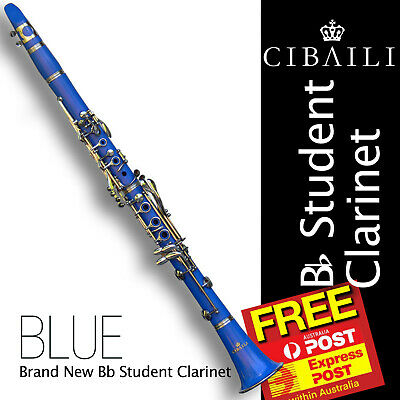 BLUE Bb CLARINET With Case and Accessories • Best Student Quality • BRAND NEW •