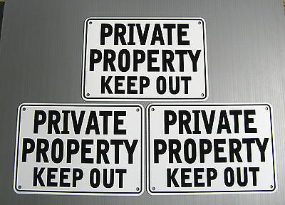 /'/'PRIVATE PROPERTY KEEP OUT/'/' SIGNS METAL 3 SIGN SET