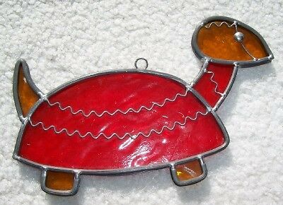 Leaded Stained Glass Window Sun Catcher BIG  RED TURTLE