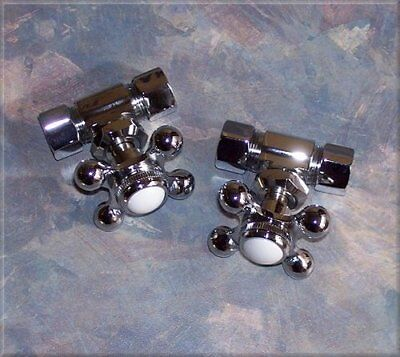 SHUT OFF VALVES for claw foot tub WATER PIPES - CHROME