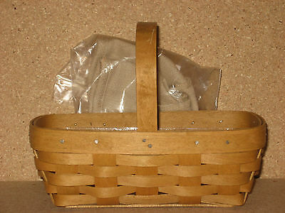 Longaberger Spring Booking Basket Combo Oatmeal liner protector not used MINT!