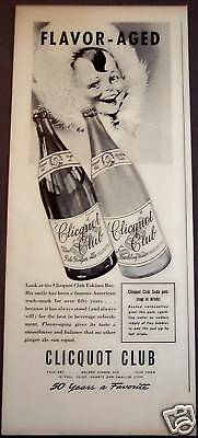 1939 Clicquot Club Sparkling Water, Ginger Ale Drink Ad