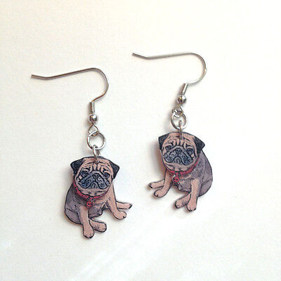 Fawn Pug 3D Dangle Earrings Handcrafted Plastic Made in USA