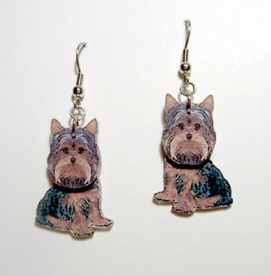 Yorkshire Terrier Dog  3D Dangle Earrings Handcrafted Plastic Made in USA