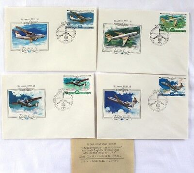 SOVIET FIRST DAY COVER RUSSIAN AIRPLANE SET of 4