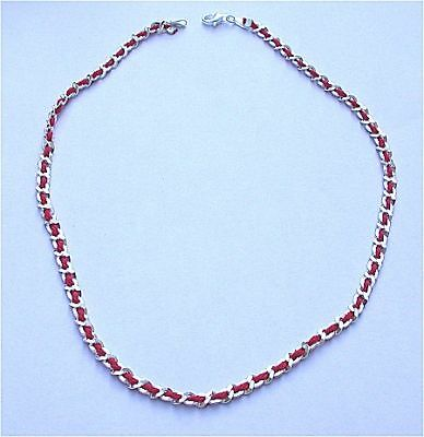 Genuine Kabbalah Red String Sterling Silver Necklace
