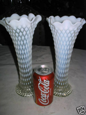 2 Antique Northwood Diamond French Lace Opalescent Flower Glass Tall Window Vase