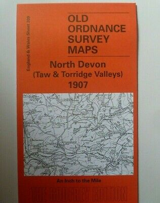 OLD ORDNANCE SURVEY MAPS NORTH DEVON TAW TORRIDGE VALLEYS 1907 Godfrey Edition
