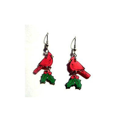Red Cardinal Bird with Holly and Berries Earrings NEW