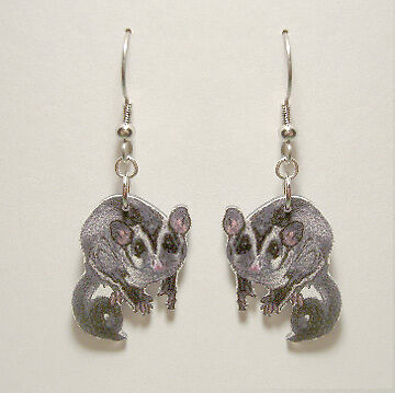 Sugar Glider Sugarglider Earrings Handcrafted Plastic Made in USA