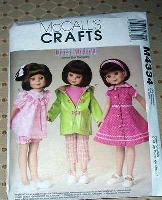 """M 4334 8""""&14"""" Betsy McCall's Doll Clothes Pattern"""