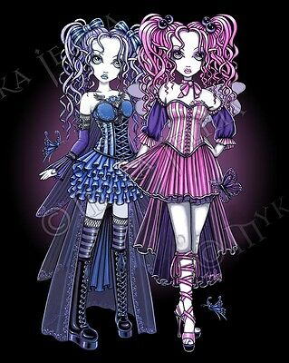 Fairy Sisters Gothic Couture Signed PRINT Haylee Maegan Pink Blue Myka Jelina