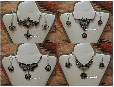 10 BULL HORN NECKLACES EARRINGS Peruvian Jewelry 5 SETS