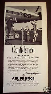 1956 AIR FRANCE Airline vintage travel ad