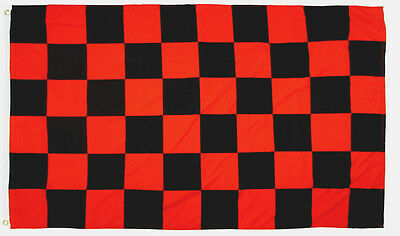 Checkered Flag 3X5' Black And Red New Attention Message
