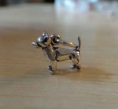1 Sterling Silver 3D TINY 9x12mm Solid Chihuahua Dog Charm!
