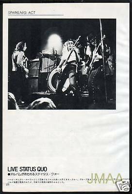 1974 STATUS QUO on stage JAPAN mag PHOTO PIN-UP RARE!!