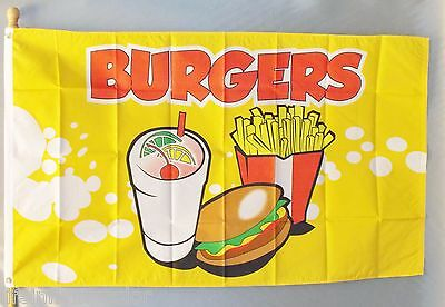 Burgers Flag 3X5' Concession Fair Food Fries Cart Message New