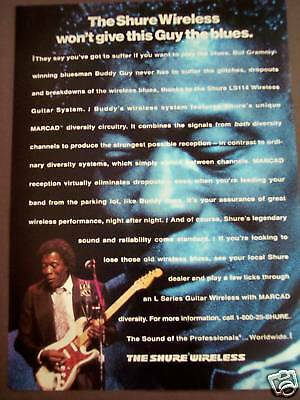1993 BUDDY GUY Shure LS114 Wireless Guitar System Ad