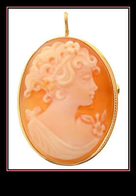 Vintage 14K Yellow Gold Cameo Brooch/pin/pendant Italy