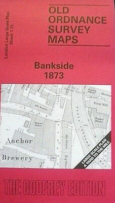 Old Ordnance Survey Detailed Map  London Bankside 1873 Sheet 7.75