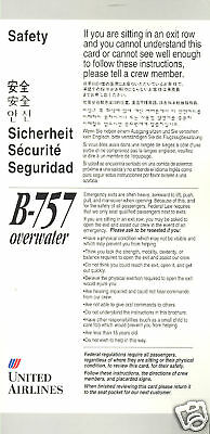 Safety Card - United - B757 - OW Lht Grey 7/97 (S2294)