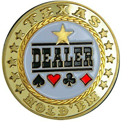 "UNIQUE POKER CARD GUARD 24K VERGOLDET ""Dealer Button"""