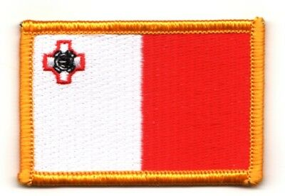 Malta Flag Patch Badge New Iron On Embroidered