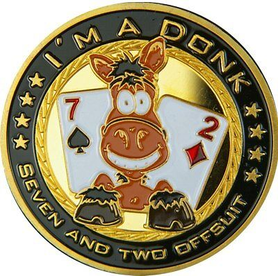 """Poker Card Guard """"I´M A DONK"""" 24K GOLD PLATED"""