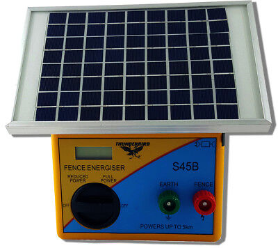 5km SOLAR Powered Electric Fence ENERGISER Charger Thunderbird S45B