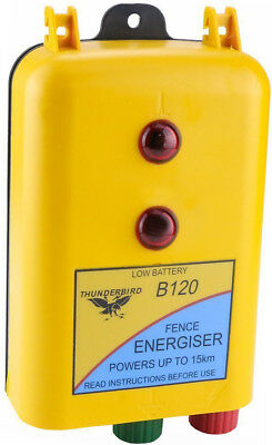 15km 12 Volt B120 BATTERY Powered Electric Fence ENERGISER-Thunderbird RRP $192