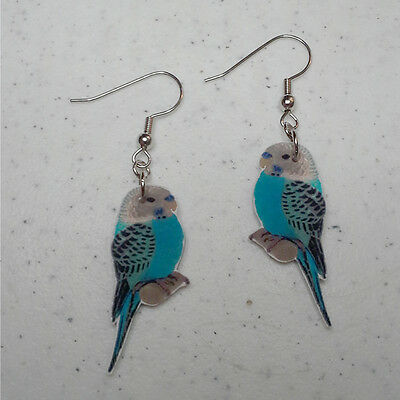 Blue White Parakeet Budgerigar Dangle Earrings Handcrafted Plastic Made in USA