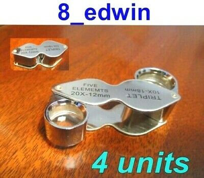 4 Units of 10x AND 20x Jeweler's Loupe Dual lenses