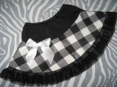 NEW Cool Girls Rock  Black White large gingham check Frilly Skirt gift party
