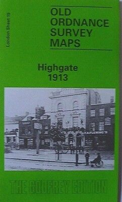 OLD ORDNANCE SURVEY DETAILED MAPS HIGHGATE LONDON 1913 Godfrey Edition New