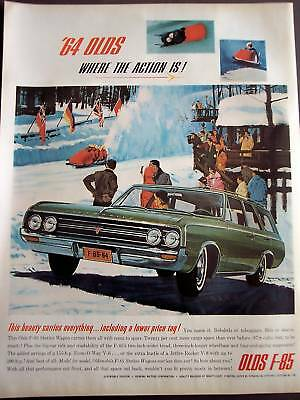 1964 Oldsmobile F-85 Station Wagon Cars bobsled Ad