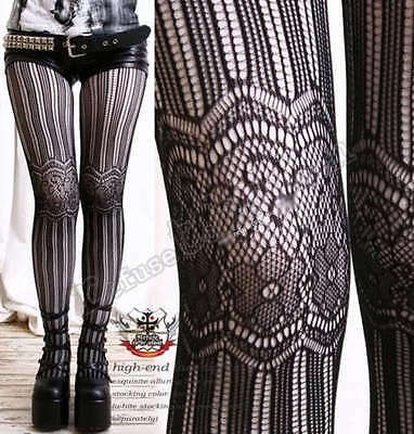 Aristocrat Lolita Floral French Lace Fishnet Net Mesh Stripe Pantyhose Hosiery
