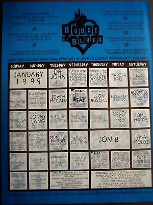 HOUSE OF BLUES 1999 Music schedule vintage ad