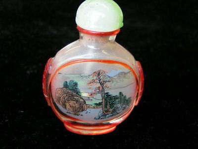 Overlayed Peking glass inside painted snuff bottle