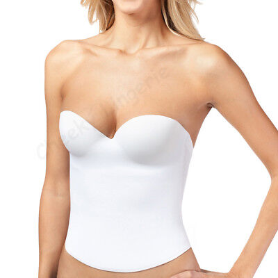 B C D Most Sizes Low Back Wedding PUSH UP BRIDAL SEAMLESS BUSTIER CORSET white