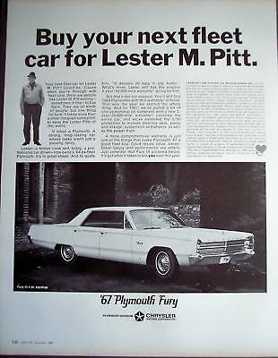 1966 Lester M. Pitt PLYMOUTH FURY vintage CAR Ad