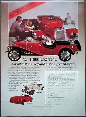 1989 Classic Motor Carriages Speedster replica cars Ad
