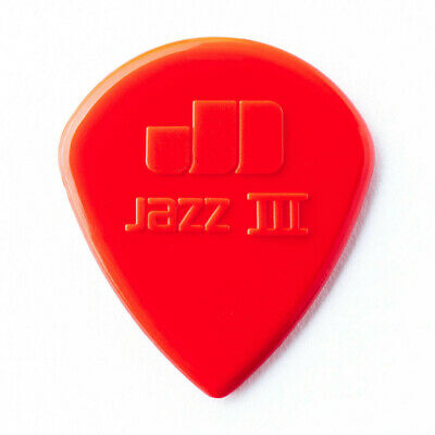 10 X Jim Dunlop Nylon Jazz 3 Red Guitar Picks Sharp Tip Jazz III *NEW* Free Post