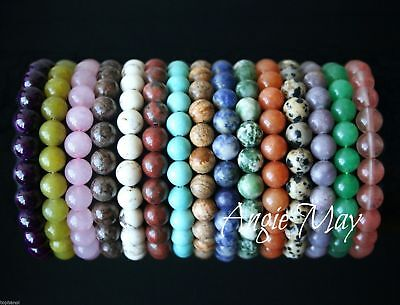 Wholesale Lot* 10 Round GEMSTONE Bead Stretch Bracelets