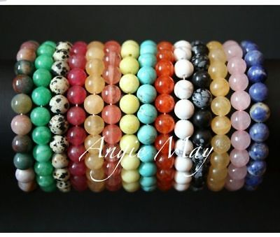 Wholesale Lot! 50 Round GEMSTONE Bead Stretch Bracelets